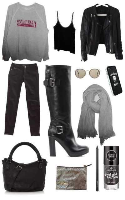 High Black Leather Boots Day Look