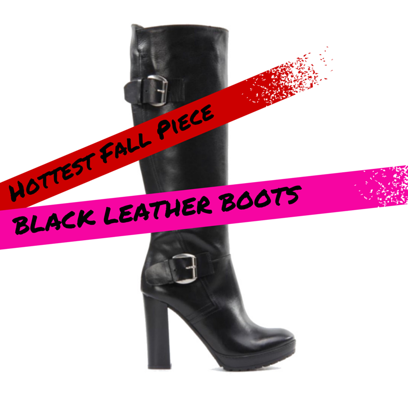 Hot Fall Piece Black Leather Boots with buckles