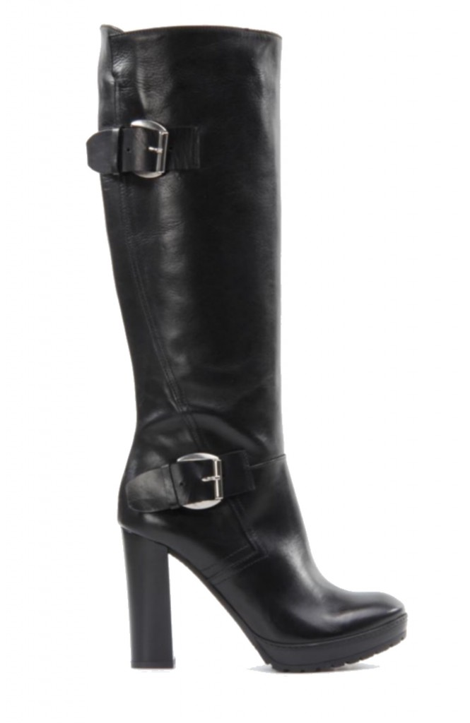 Black Leather Buckle Boots Knee High