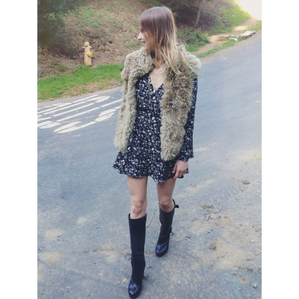 Floral Dress Knee High Boots feature