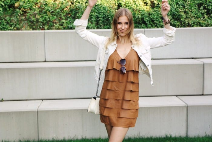 Brown Leather Dress and Converse High Chucks - I am Metal Heart