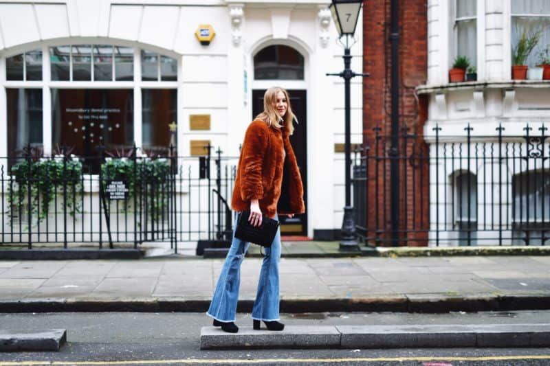 60's Vibe with Flare Jeans and Fake Fur Coat
